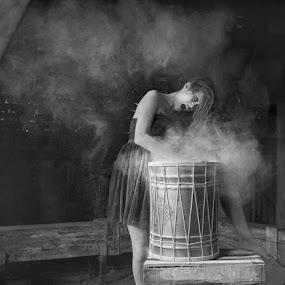 The Anger Drummer by Yuni Herawati - Black & White Portraits & People ( b&w, girl, drum )