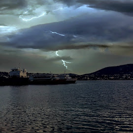 Lightning by Socratis Sxs - Landscapes Weather ( lightning, mountain, ship, sea )