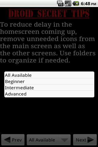 droid-secret-tips-pro for android screenshot