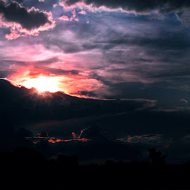 rememberance by Derrill Grabenstein - Landscapes Sunsets & Sunrises ( clouds, underexposed, sunset, sun, river )