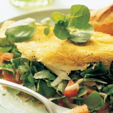 Watercress omelette with Gruyère and tomatoes