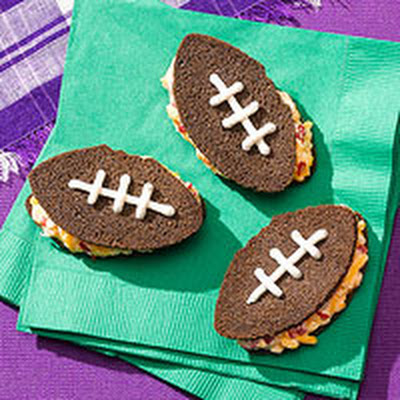 Pimiento Cheese Football Sandwiches