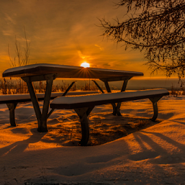 Wabamun City Park by Joseph Law - City,  Street & Park  City Parks ( footprints, winter, alberta, snow, morning glory, wabaman, sunshine, city park, picnic table, shadows )