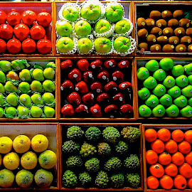 FRUIT GRID by Doug Hilson - City,  Street & Park  Markets & Shops ( fruit, red&green, colorful, grid, india, display, tamil nadu )