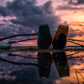 Evening Beauty by MaSs Balasooriya - Landscapes Waterscapes ( water, clouds, orange, phone, reflection, colorful, beauty, yellow, boat, mobilography, red, sky, blue, color, mobile photos, evening )