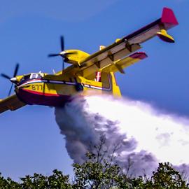 Water drop by Darko Maretić - Transportation Airplanes ( water, wing, plane, drop, airplane, hidroplane, firefight, cl415, canadair, fir, fire )