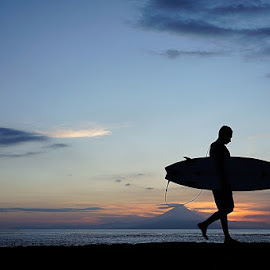 sunset surfer by Hery Gunawan - Sports & Fitness Surfing