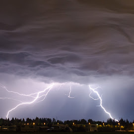 Double Blast by Pat Green - Landscapes Weather ( lightning, events, bonney lake, places, wa, landscapes, ren fair 2013 )