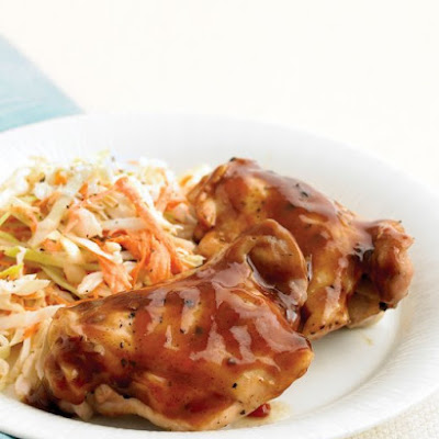 BBQ Chicken in the Microwave with Coleslaw