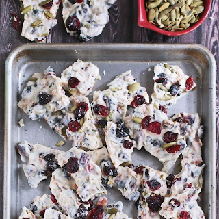 Vanilla Candy Bark with Dried Fruit, Pumpkin Seeds & Spicy Bacon Jerky