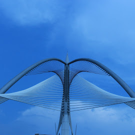 Symmetrical Structure 2 by Baharul Islam - Buildings & Architecture Bridges & Suspended Structures ( structure, sky, color, blue, putrajaya, malaysia, symmetry, bridge, the mood factory, mood, lighting, sassy, pink, colored, colorful, scenic, artificial, lights, scents, senses, hot pink, confident, fun, mood factory ,  )