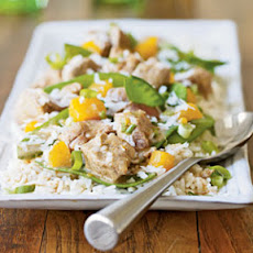 Coconut Curried Pork, Snow Pea, and Mango Stir-Fry