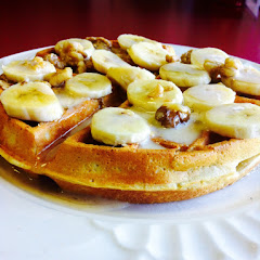 Banana honey nut waffles