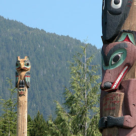 Ketchikan Totems by Kathleen Butke - Novices Only Objects & Still Life