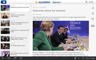 Screenshot of Al Jazeera English for Tablets