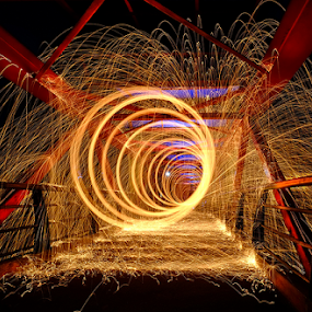 Vortex of fire by Edo Kurniawan - Abstract Light Painting ( ring, steel wool, yellow, slow, university of indonesia, fire, teksas bridge )