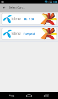 Screenshot of Telenor Recharge/Packages