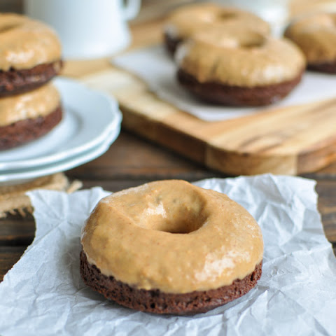 Chocolate Donuts with Peanut Butter Glaze