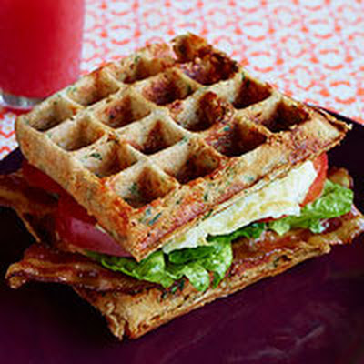 Cheddar-Whole Wheat Waffle BLT Sandwiches