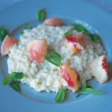 Sweet Vanilla Risotto With Poached Peaches & Chocolate