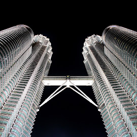 The Petronas Towers by Rob Hudson - Buildings & Architecture Office Buildings & Hotels ( detail, worm, building, petronas, malaysia, worlds, architecture, travel, tallest, angle, kuala lumpur, tower, towers, skyscraper, travelling, world's, asia, traveller, high, view, tall, eye )