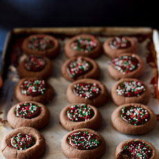 Mini Chocolate Thumbprint Cookies
