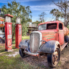 Yesteryears Garage by Shannon Rogers - Transportation Automobiles ( shannon rogers photography, south australia, shannon rogers, hdr, petrol station, gas station, truck, garage, old truck, historic,  )