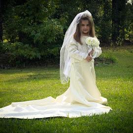 Nana's Wedding Dress 3 by Amanda Lassiter - Babies & Children Child Portraits