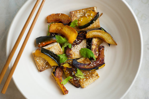 Sweet-and-Spicy Roasted Tofu and Squash Recipe | Yummly