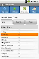 Screenshot of Zip Code Finder