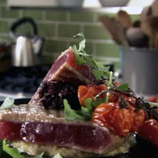 Grilled Tuna with White Bean Puree, Olive Tapenade and Roasted Cherry Tomatoes