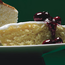 Lemon Cornmeal Cake with Lemon Glaze and Crushed-Blueberry Sauce