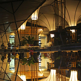 Reflection by Febrian Dwinanto - Buildings & Architecture Other Interior ( reflection, warm, cafe, night, inverted )