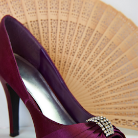 Wedding Shoe by Lizzy Foxx - Artistic Objects Clothing & Accessories ( purple, wedding, accent, fan, shoe )