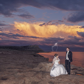Lightning Luck by Mandy Christodoulou - Wedding Bride & Groom ( cyprus wedding photographer, cyprus bride and groom, cyprus weddings )