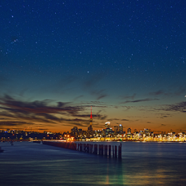Auckland Skyline at night  by Anupam Hatui - City,  Street & Park  Skylines ( skyline, stars, auckland, city lights, long exposure, night, landscape )