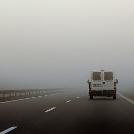 Foggy Road by Awais Khalid - Landscapes Weather ( scary, mystery, fog, dark. road )