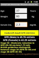 Screenshot of Clinical Lab ( Gault GFR )