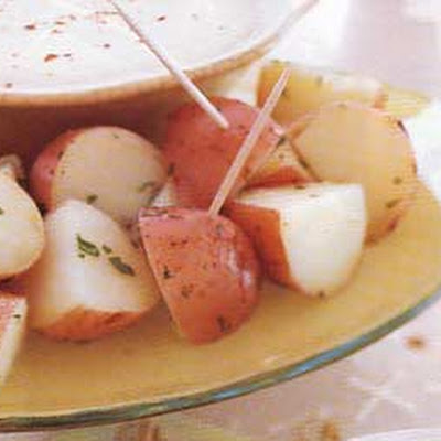 New Potatoes with Three-Cheese Fondue