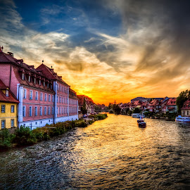 Little Venice at Bamberg by Ralf Kowohl - City,  Street & Park  Historic Districts ( clouds, vacation, europe, bamberg, sunset, buildings, ships, germany, cityscape, historic, river, city, Urban, City, Lifestyle,  )