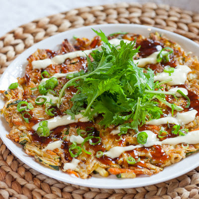 Japanese Okonomiyaki with Dressed Mizuna & Garlic-Lemon Sauce