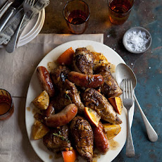 Spicy Roasted Chicken And Sausages With Marmalade And Thyme