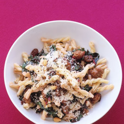 Gemelli With Sausage, Swiss Chard, and Pine Nuts