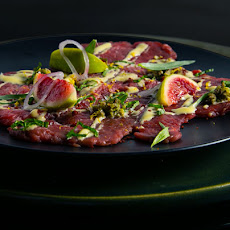 Lamb Carpaccio with Figs, Green Olives and Mint