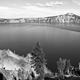Crater Lake by Deborah Russenberger - Landscapes Waterscapes ( b&w, lake, black and white, landscape )