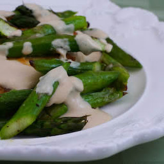 Chicken and Quickly Roasted Asparagus served with Tahini Sauce