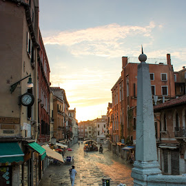 Venice in the morning by Chris Anderson - City,  Street & Park  Street Scenes ( walking, stairs, shops, venice, pillar, travel, sunrise, morning, italy )