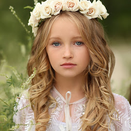 Lexi by Katie Andelman Garner - Babies & Children Child Portraits ( child, model, girl, blonde hair, long hair, beautiful, roses, blue eyes, dof, beauty, flowers,  )