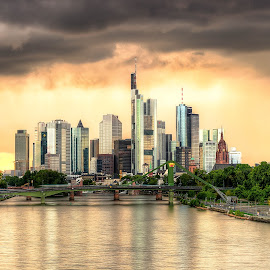 Frankfurt by Lukas Proszowski - City,  Street & Park  Skylines ( frankfurt, reflection, skyline, sunset, germany, river, city )