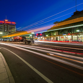 Square Lights. by Ron Phillips - City,  Street & Park  Street Scenes ( night photography, harvard square, long exposure, street scene, cambridge, street photography )